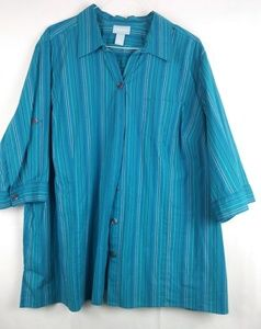 Liz & Me Blue striped button down shirt Size 3X